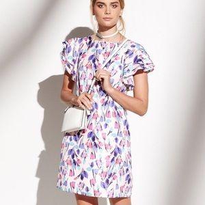 Donna Morgan Floral Shift Dress Flutter Sleeves